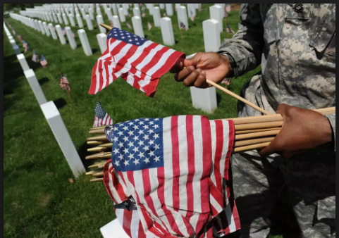 Veterans day american flags for graves