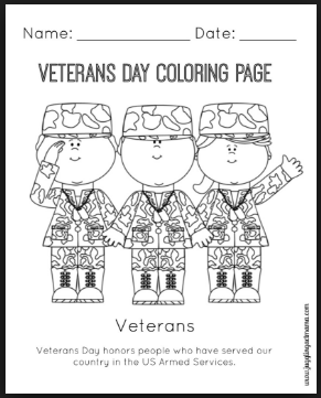 Veterans day coloring Pages for children
