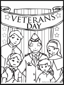 Veterans day coloring pages and sheets of army