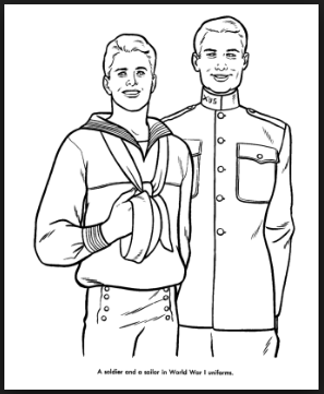 free navy Veterans day coloring pages