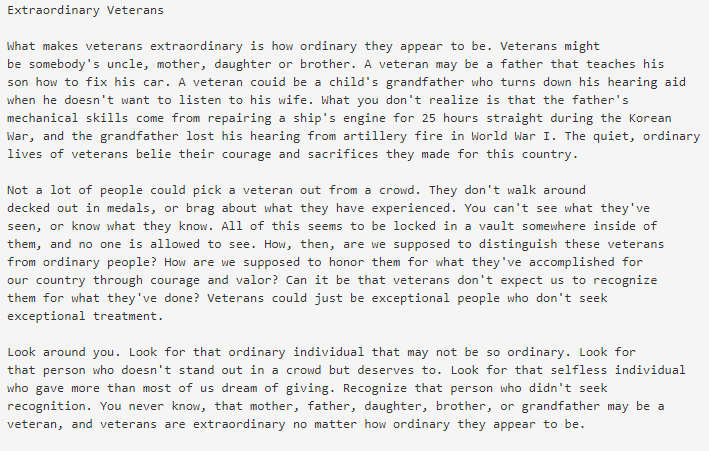veterans day essay contest sample pic