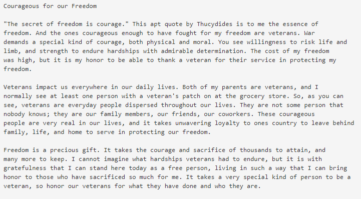 veterans day essay for middle