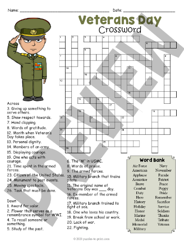 Veterans Day Crosswords Puzzles, Free Printables Worksheets of Word Searches