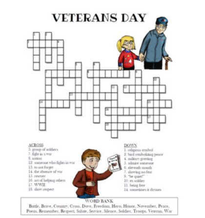 veterans day crossword puzzles for homeschool kid