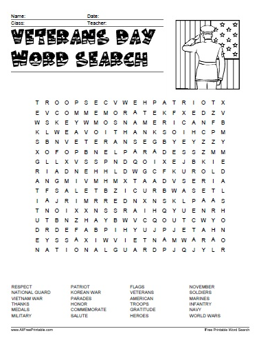 veterans day word puzzles activities