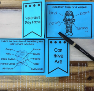 activity and worksheet task list for kids at veterans day