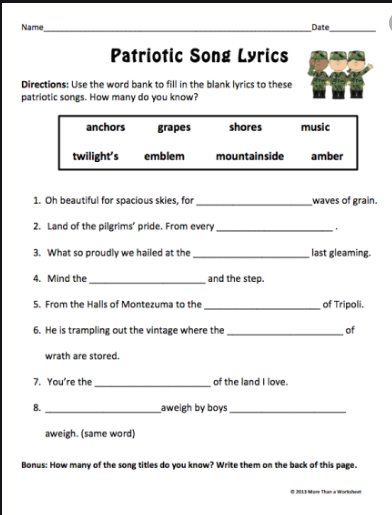 Veterans day puzzle worksheet for school kids
